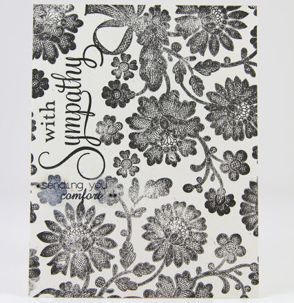 Sympathy card featuring black floral lace stamping by Taheerah Atchia