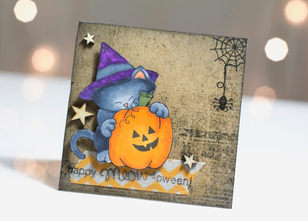 Halloween Pumpkin Kitty card by Taheerah Atchia