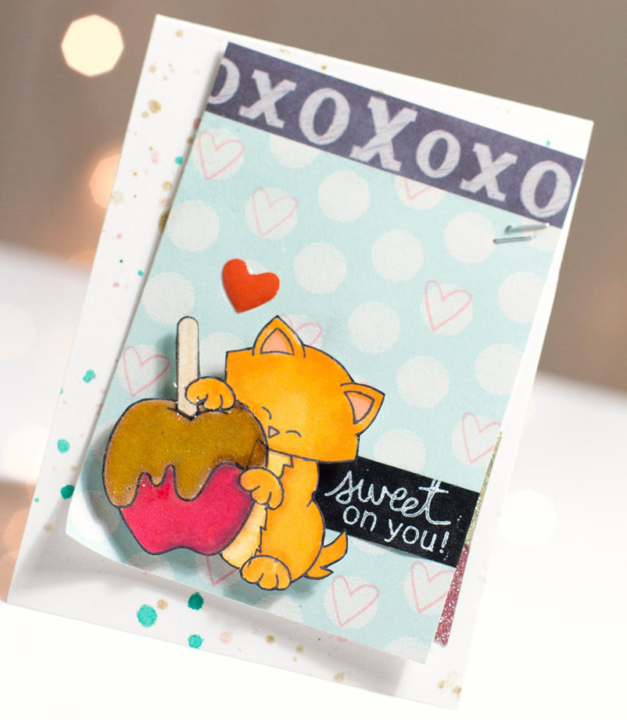 Sweet On You Toffee Apple Kitty card by Taheerah Atchia