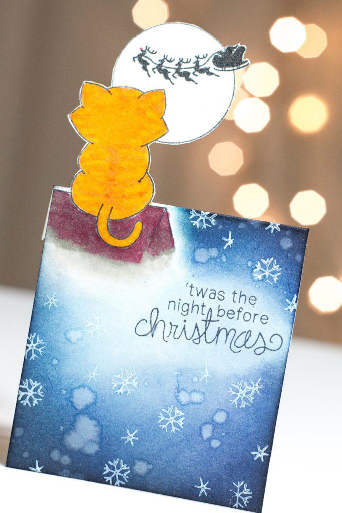Curious Christmas Kitty card by Taheerah Atchia