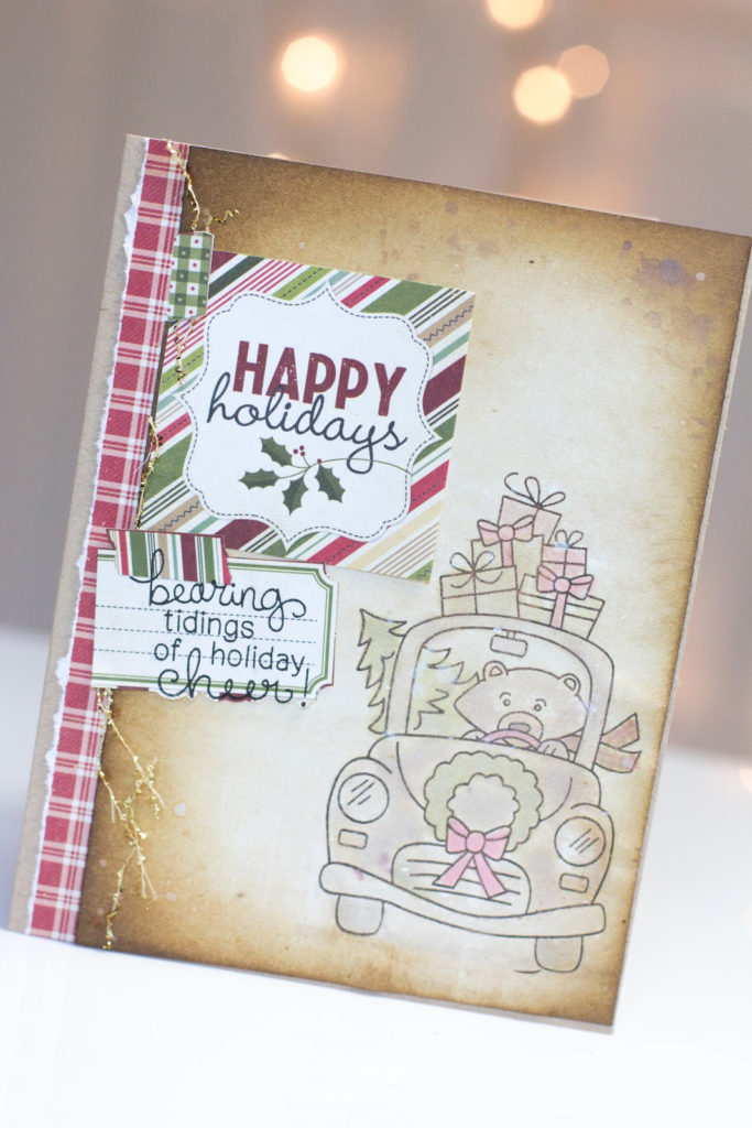 Driving Home For Christmas Bear card by Taheerah Atchia