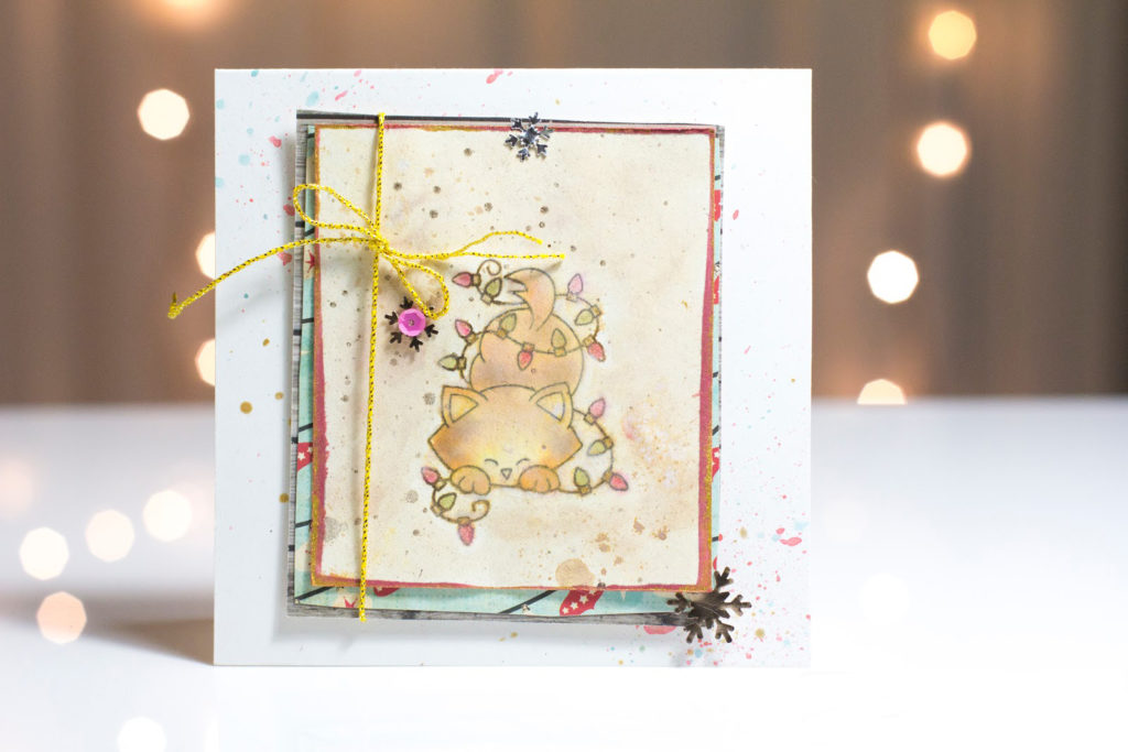 Christmas Lights Kitty card by Taheerah Atchia