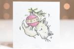 Watercoloured Mischievous Kitty Christmas Card