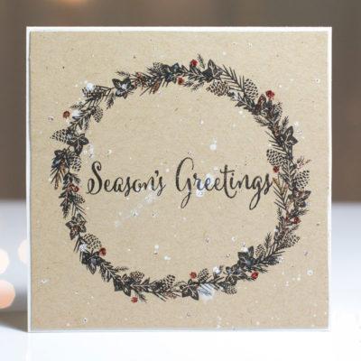 Season's Greetings Wreath card by Taheerah Atchia