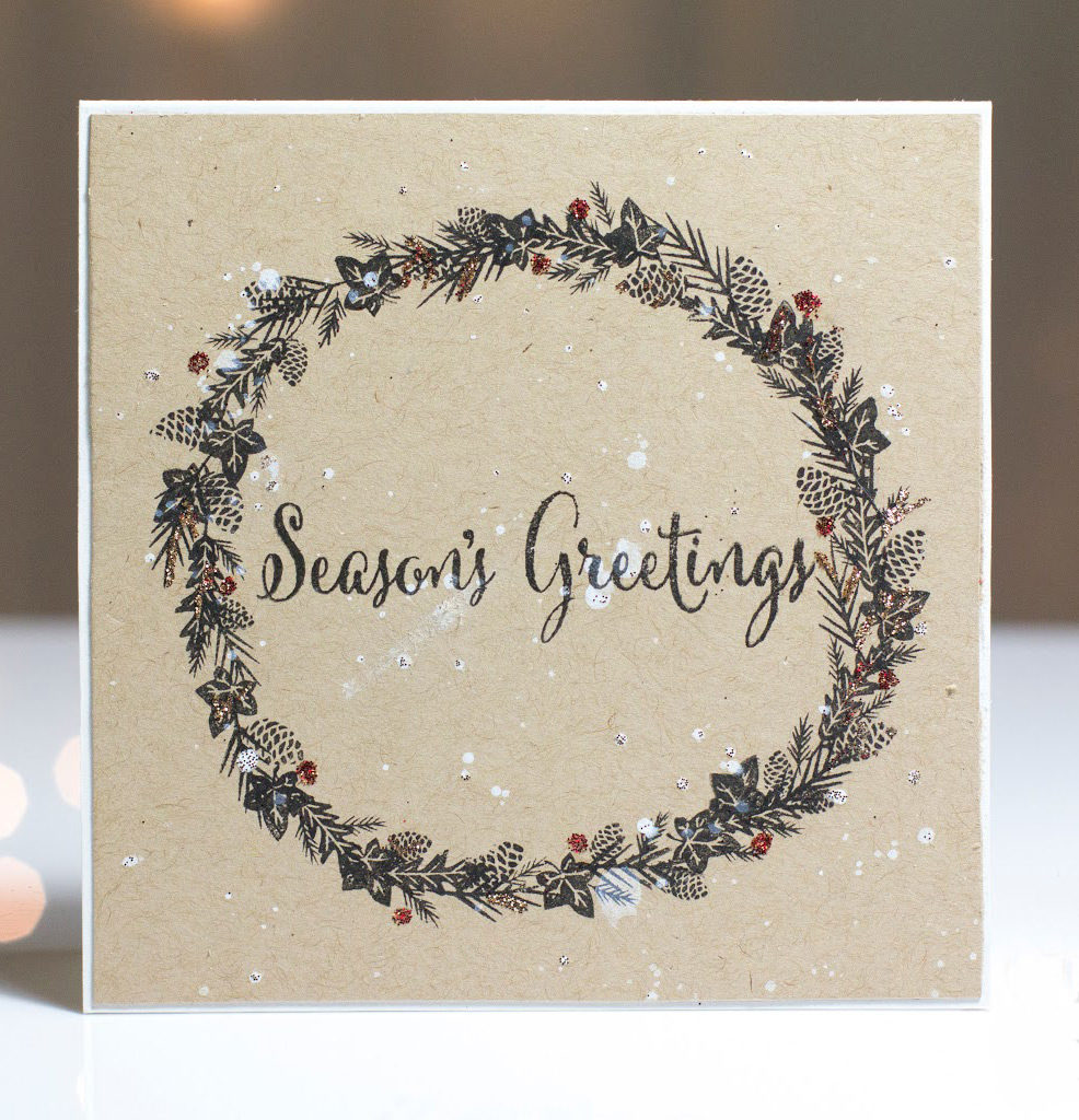 Season's Greetings Wreath card by Taheerah Atchia