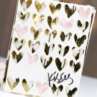 Gold Foil Hearts & Kisses card by Taheerah Atchia