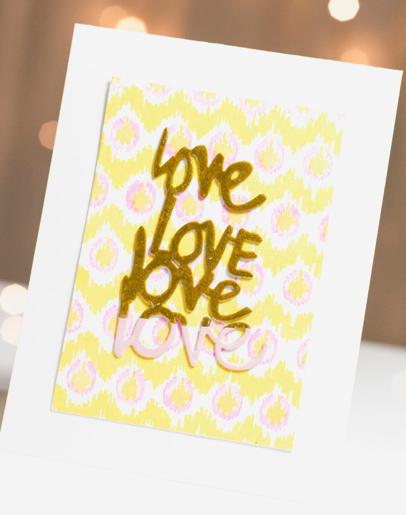 Ikat Gold Dip Love card by Taheerah Atchia