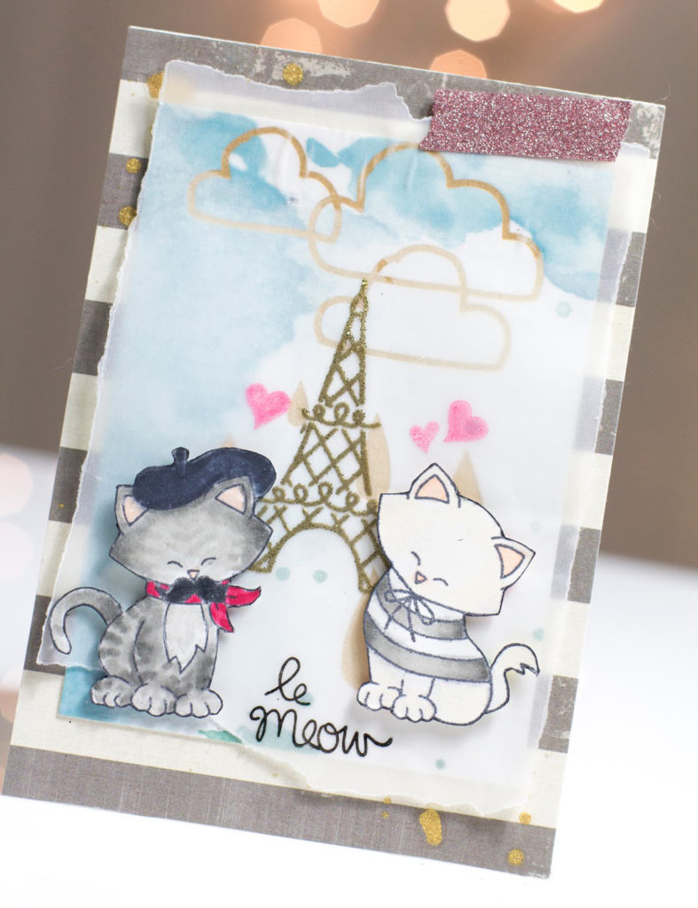 Le Meow Love card by Taheerah Atchia featuring two cute kitties by the Eiffel Tower