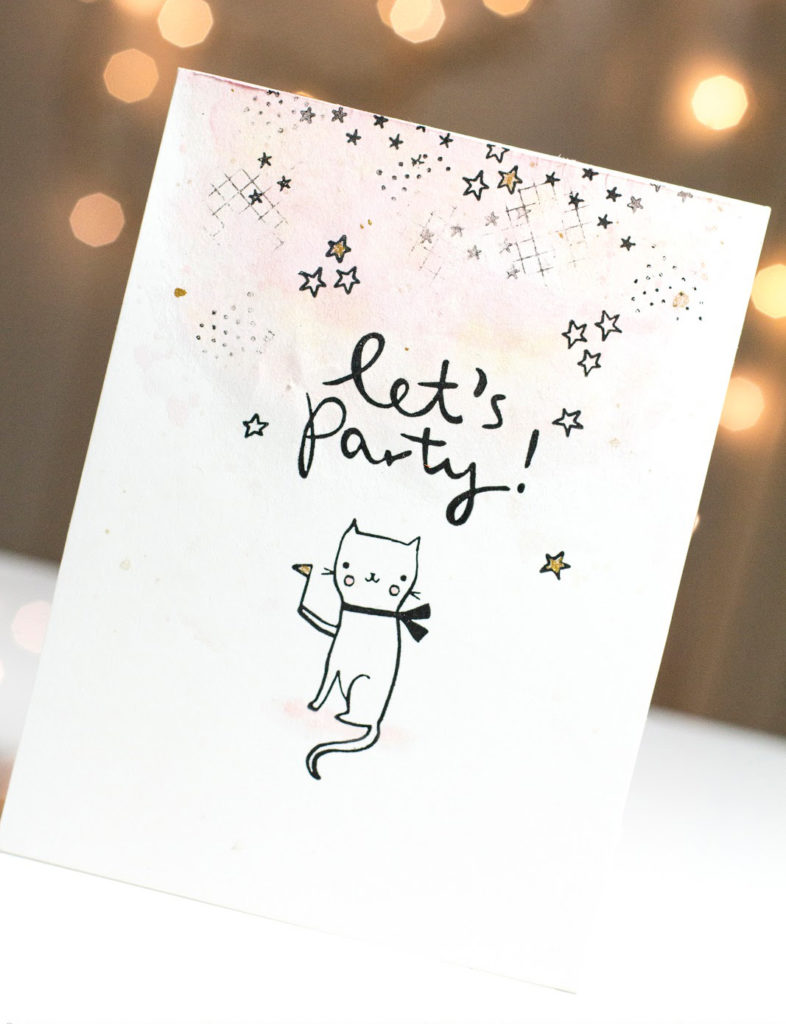 Let's Party Cat Birthday card by Taheerah Atchia