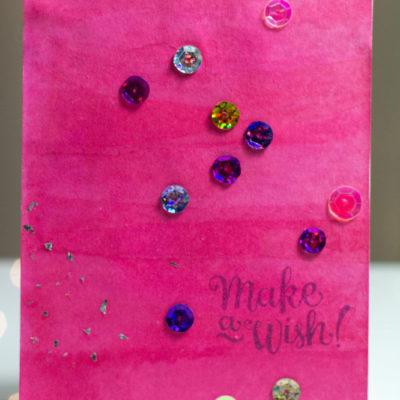 Make A Wish Watercolour card by Taheerah Atchia