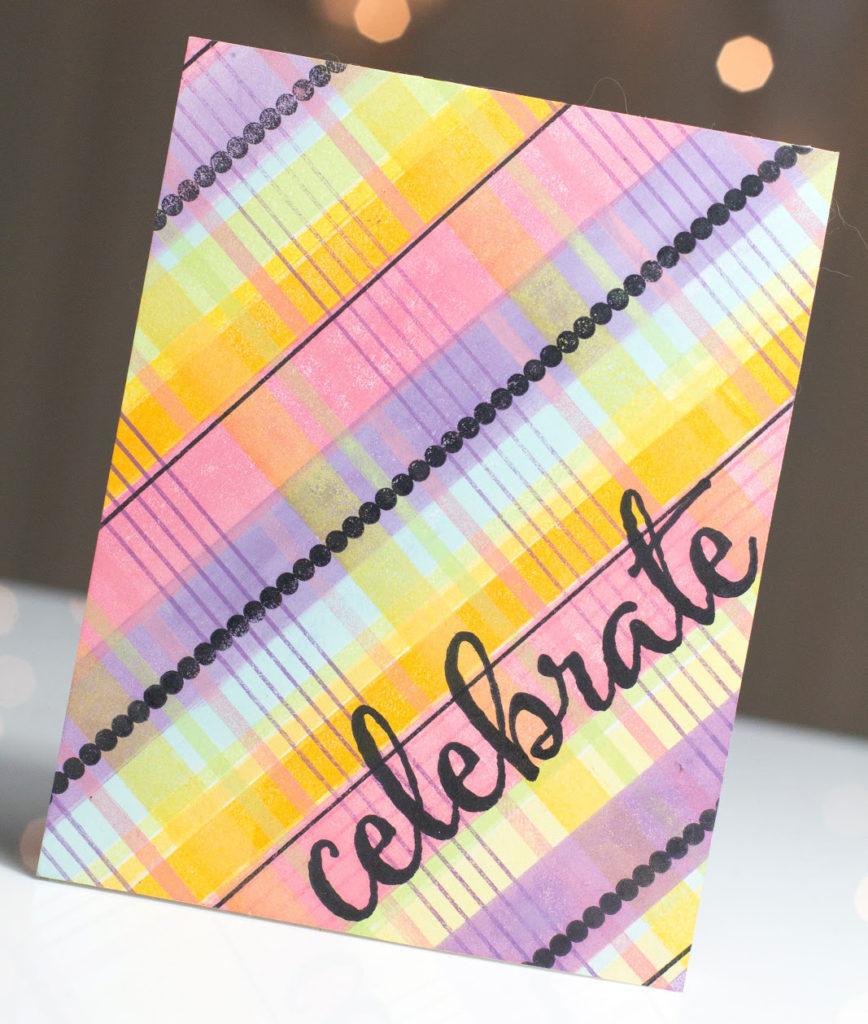 Plaid Celebrate card by Taheerah Atchia