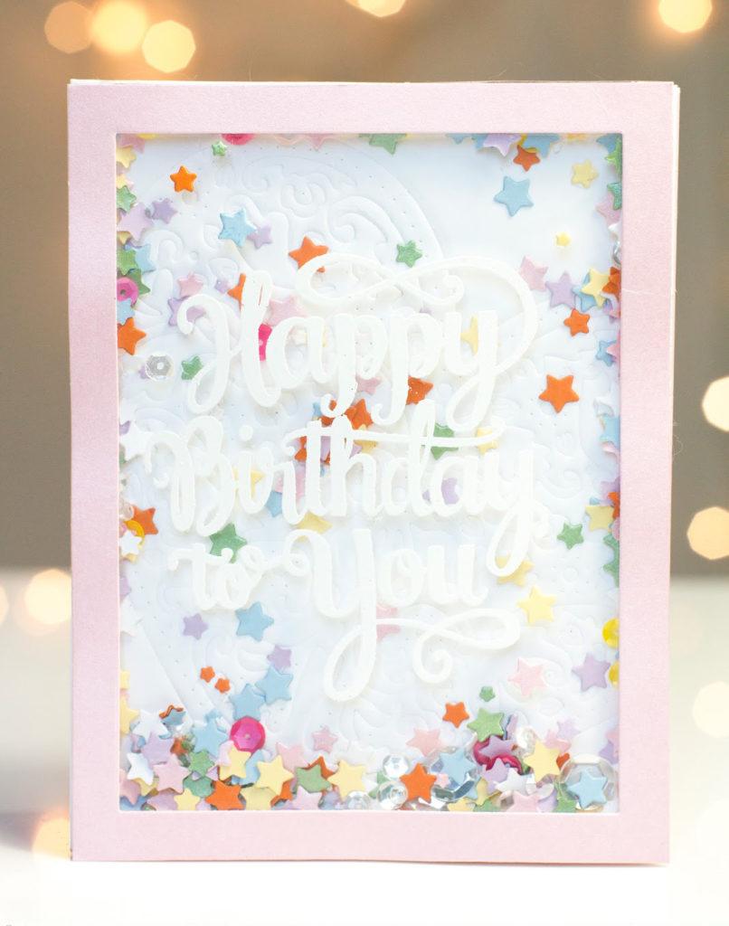 Stars Confetti Birthday Shaker card by Taheerah Atchia