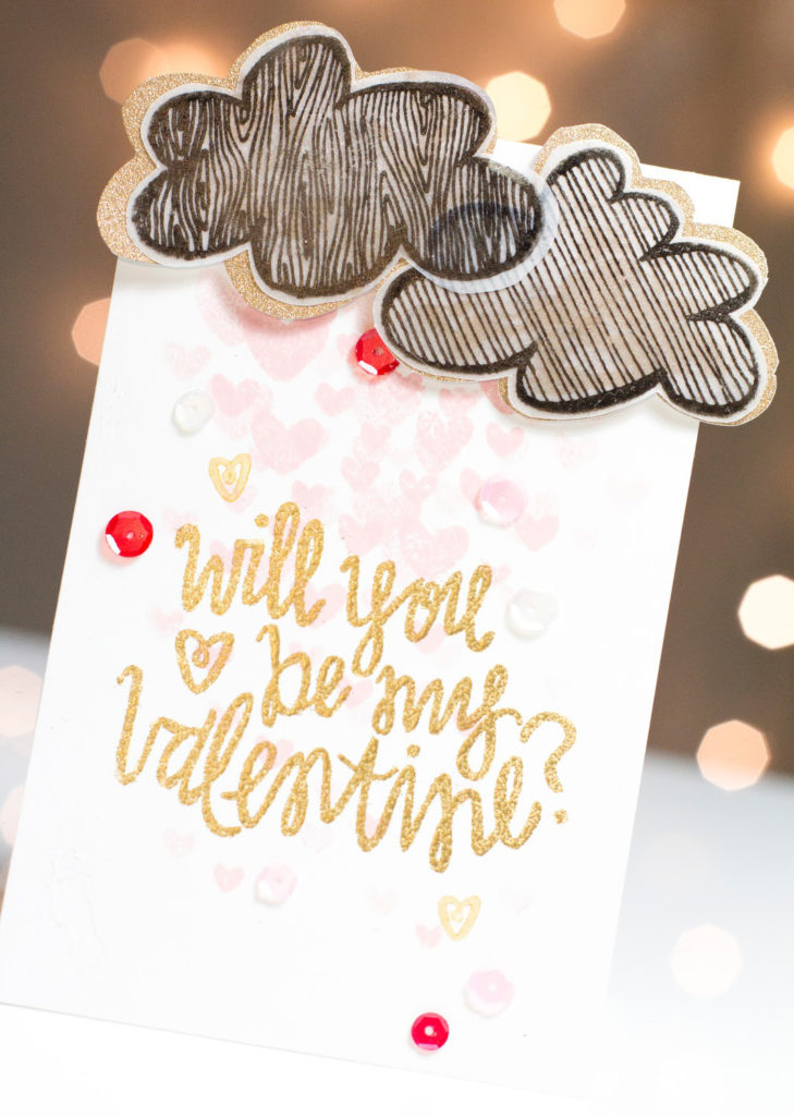 Will You Be My Valentine card by Taheerah Atchia featuring layered clouds and shower of hearts