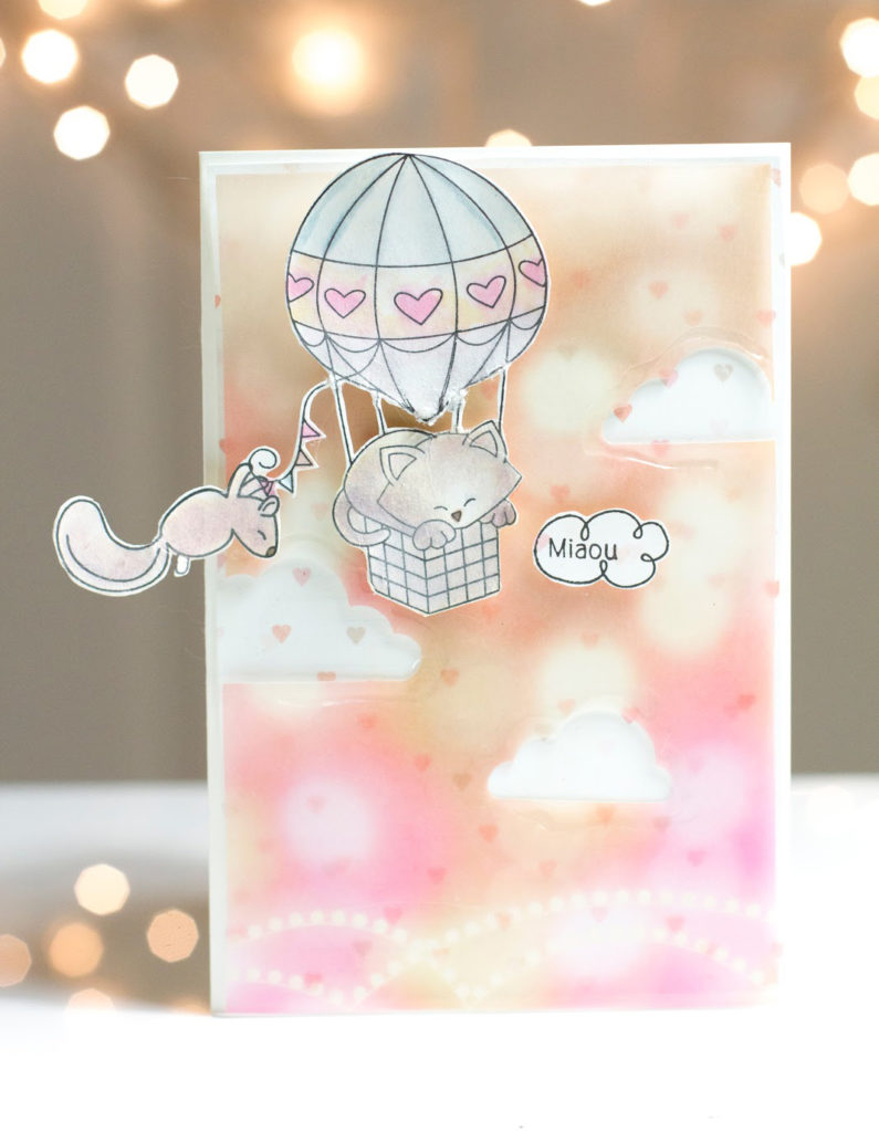 Flying Kitty Friendship card by Taheerah Atchia