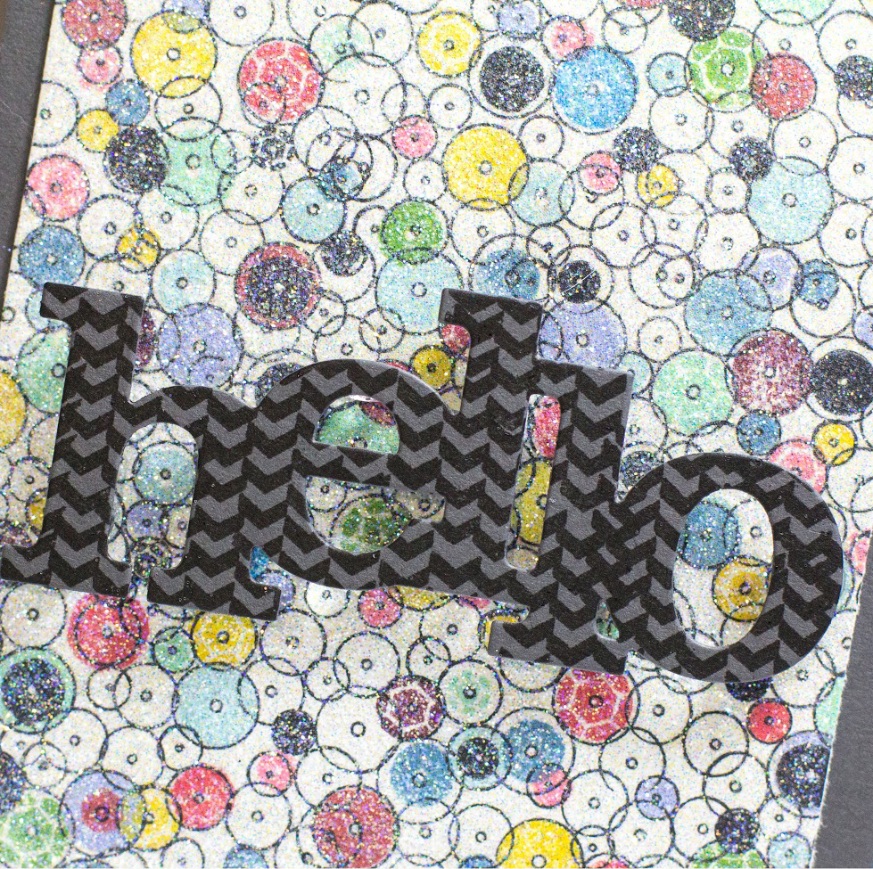 Glitter Sequin Hello card by Taheerah Atchia