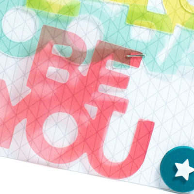 Close-up of Acrylic Words card by Taheerah Atchia