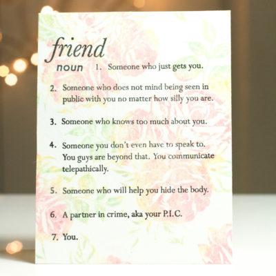 Define Friend Card by Taheerah Atchia