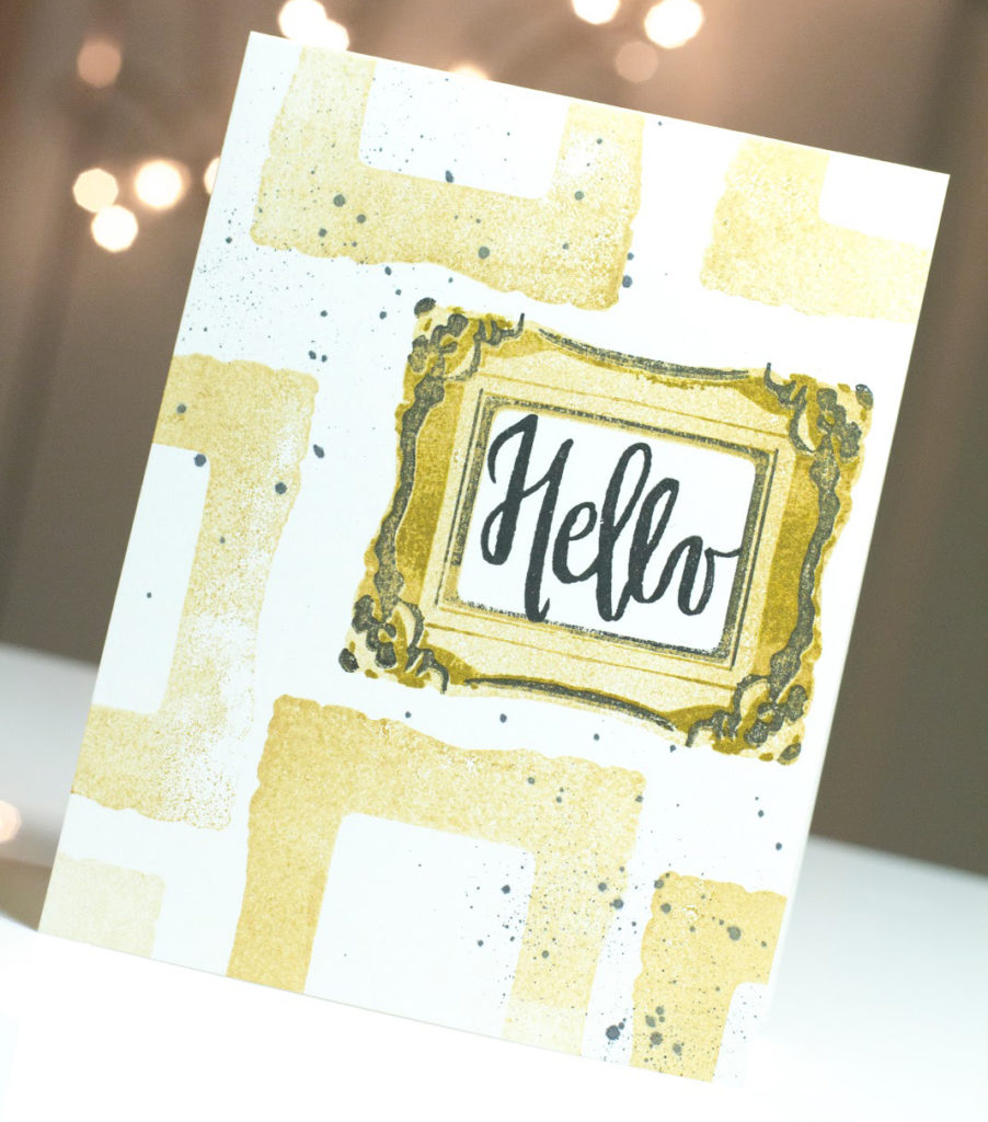 Ornate Frames Hello Card by Taheerah Atchia featuring gold frames