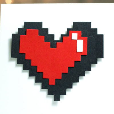 Geeky Pixellated Heart card by Taheerah Atchia