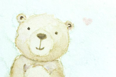 Close-up of cute Watercolour Bear card by Taheerah Atchia