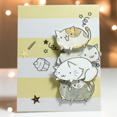 Fun cute Cat Birthday card by Taheerah Atchia