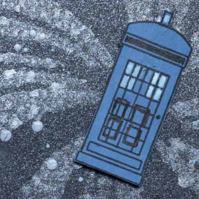 Close-up of Doctor Who TARDIS card by Taheerah Atchia