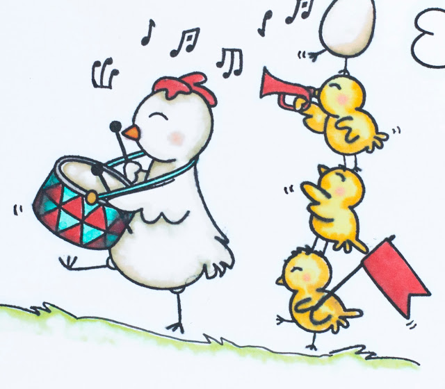 Close up of card featuring parade of chickens playing music