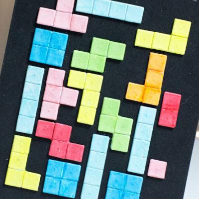 Close-up of geeky Tetris card by Taheerah Atchia