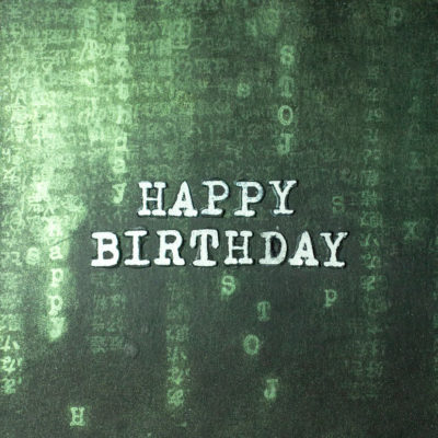 Close-up of geeky Matrix birthday card by Taheerah Atchia