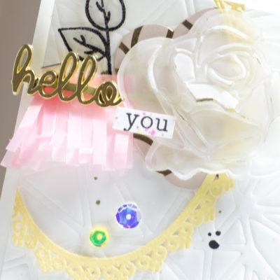 Close-up of layered card by Taheerah Atchia
