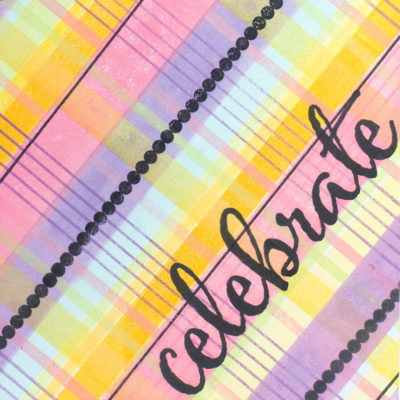 Close-up of celebration card by Taheerah Atchia featuring patterns