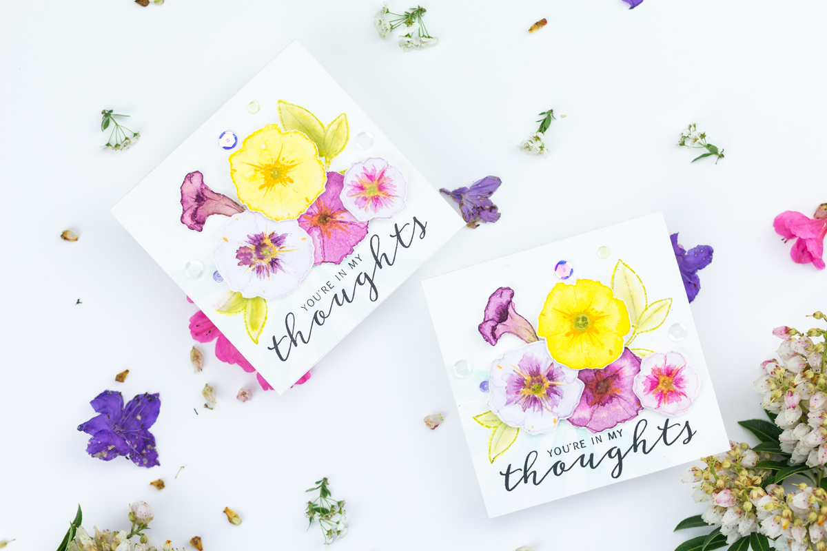 Watercoloured & Stamped Petunias Card Tutorial