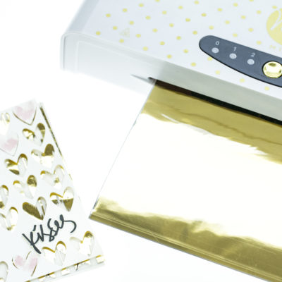 Foiling technique card by Taheerah Atchia featuring Minc foiling machine