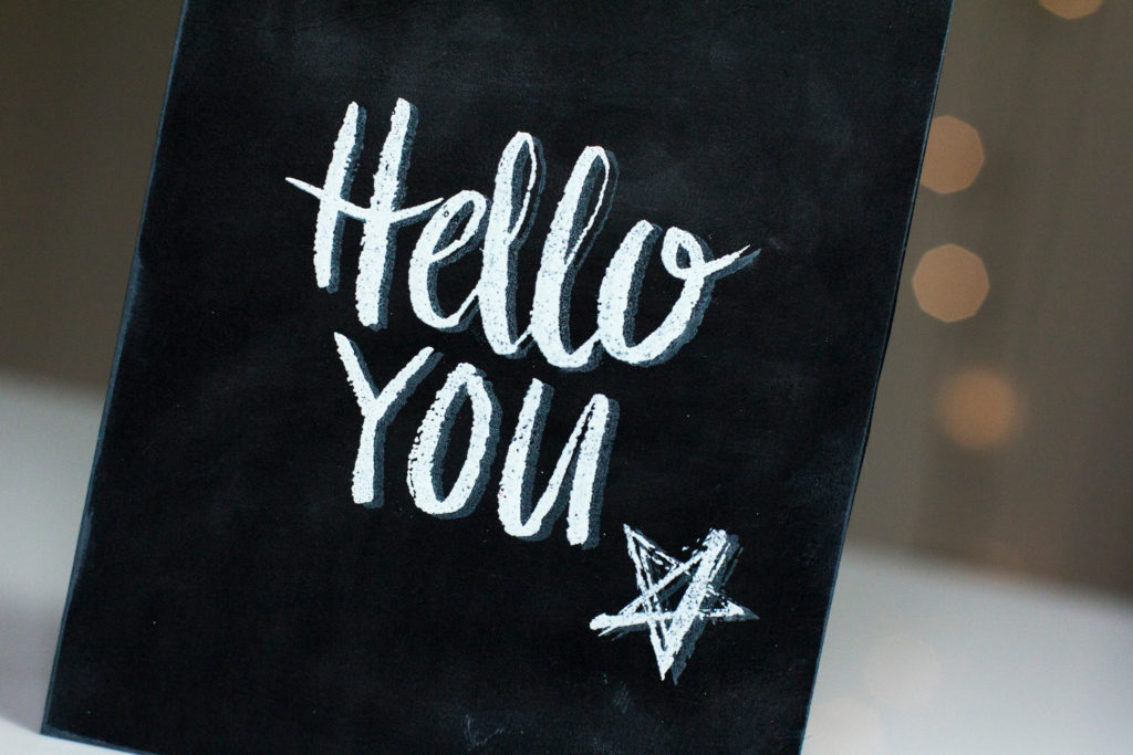 Hello You Chalkboard Card by Taheerah Atchia