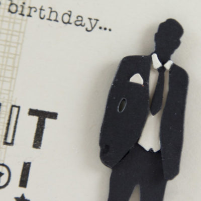 Close up of Masculine card