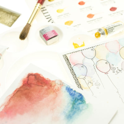 Watercolour technique cards by Taheerah Atchia