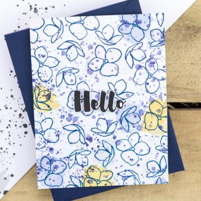 Hello Hydrangea Splatter Card by Taheerah Atchia