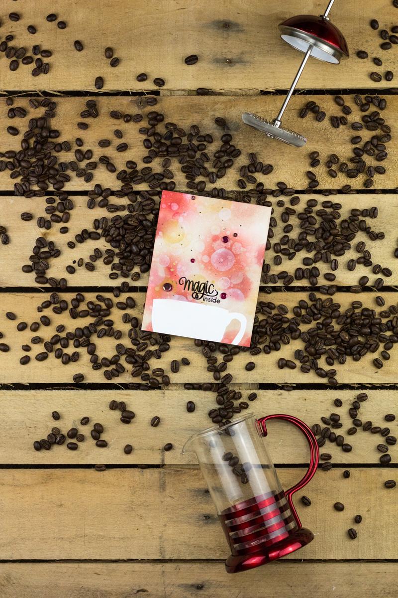 Polka Stencil Magic Inside Coffee Cup Bokeh Card by Taheerah Atchia