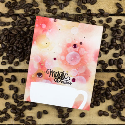 Polka Stencil Magic Inside Coffee Cup Bokeh Card by Taheerah Atchia