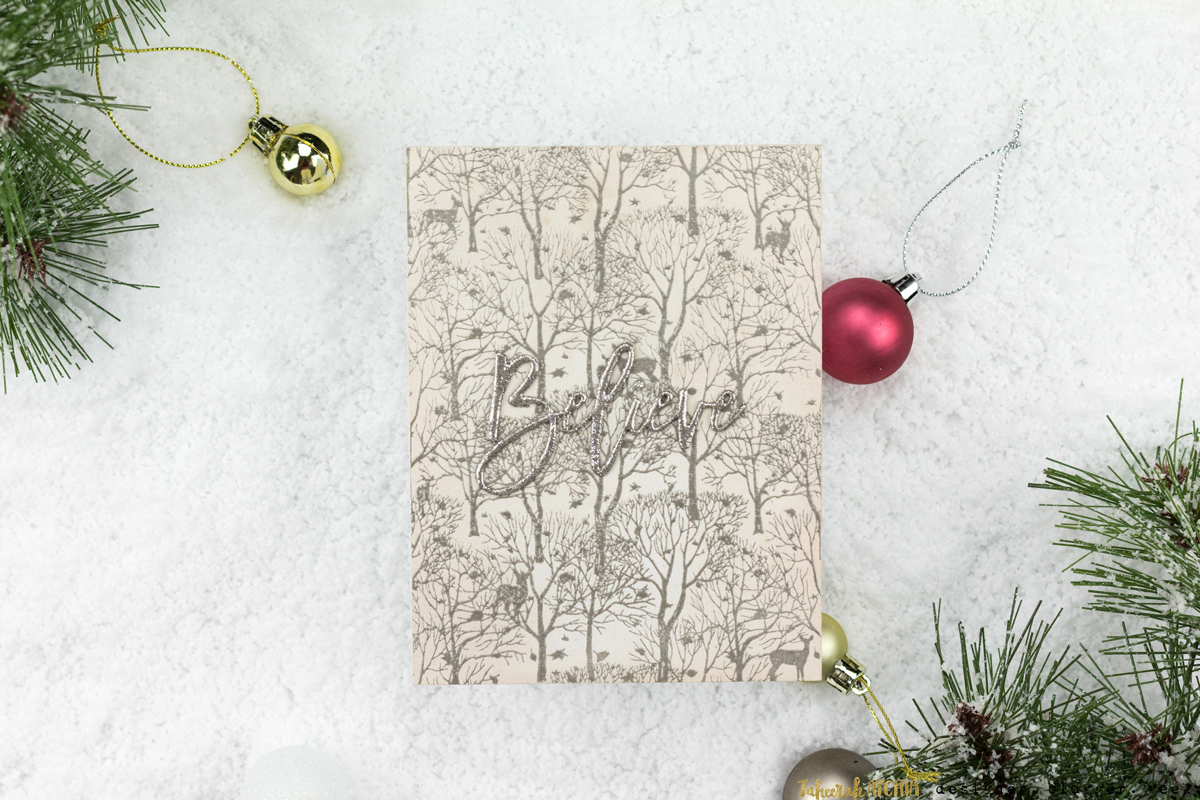 Believe Forest Christmas Card by Taheerah Atchia