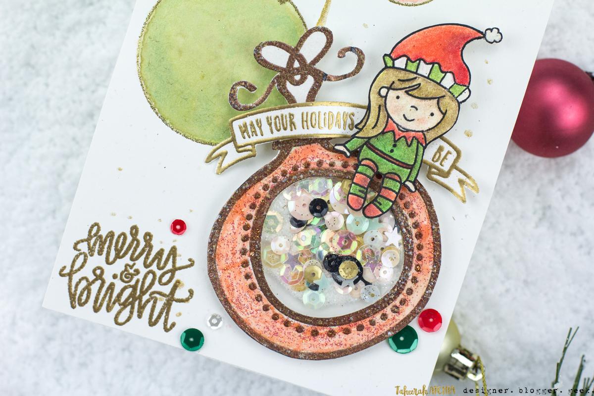 Elf Ornament Shaker Card by Taheerah Atchia