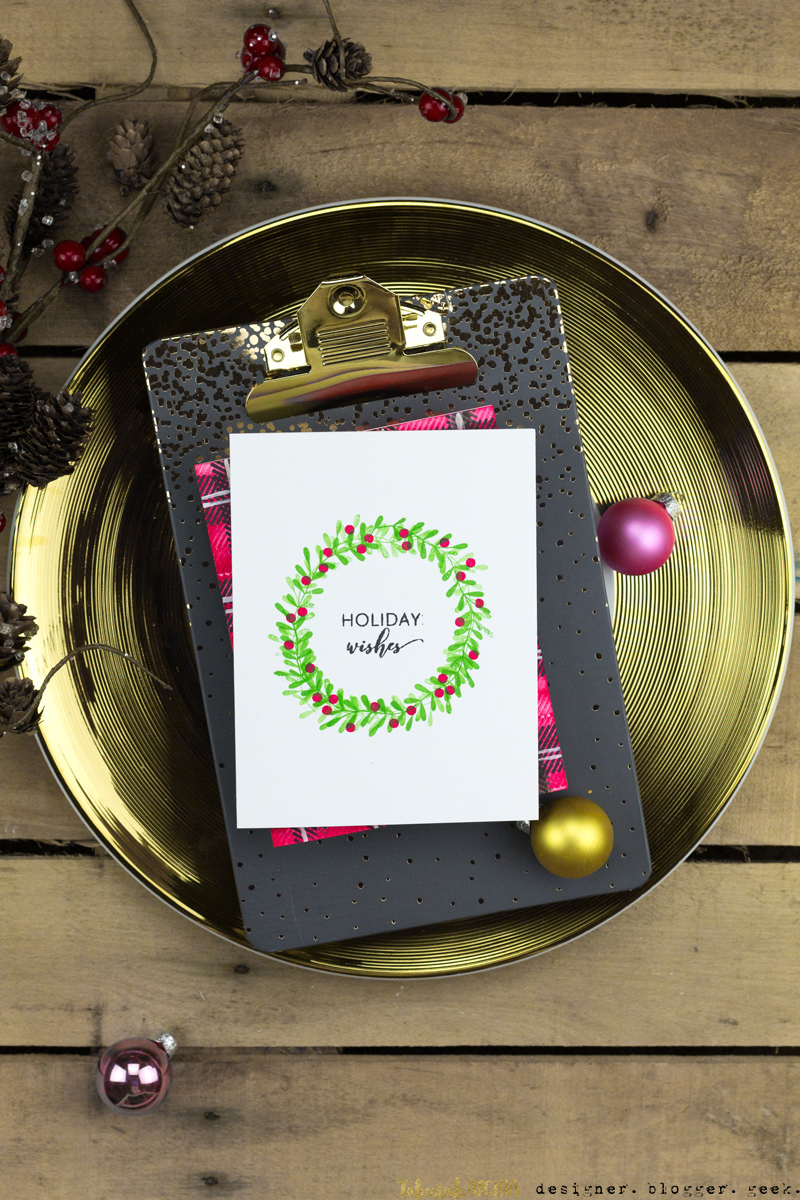 Holiday Wishes Wreath Card by Taheerah Atchia