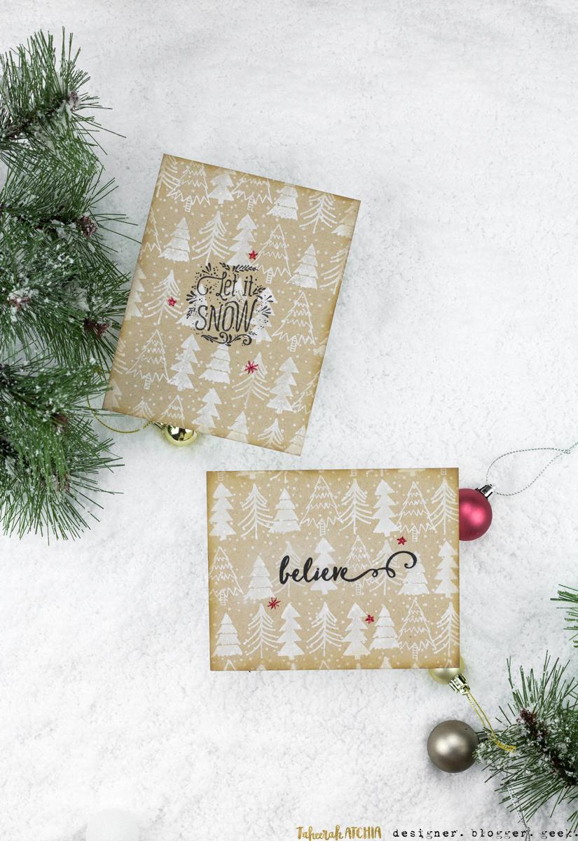 Kraft Christmas Tree Card Duo by Taheerah Atchia
