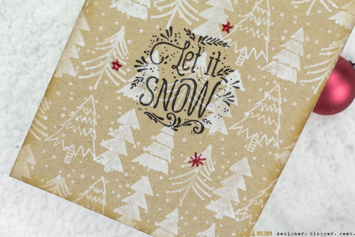 Let It Snow Kraft Christmas Tree Card by Taheerah Atchia