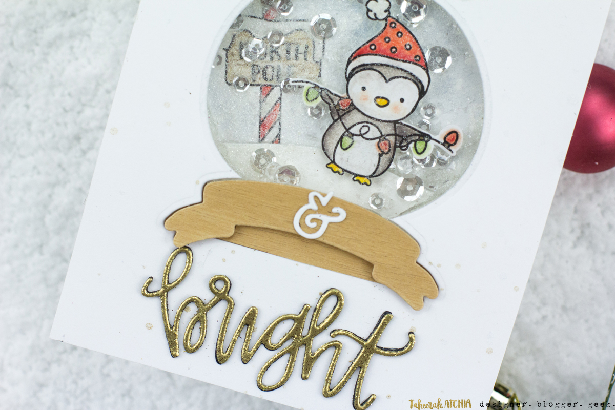 Merry & Bright Penguin Shaker Card by Taheerah Atchia