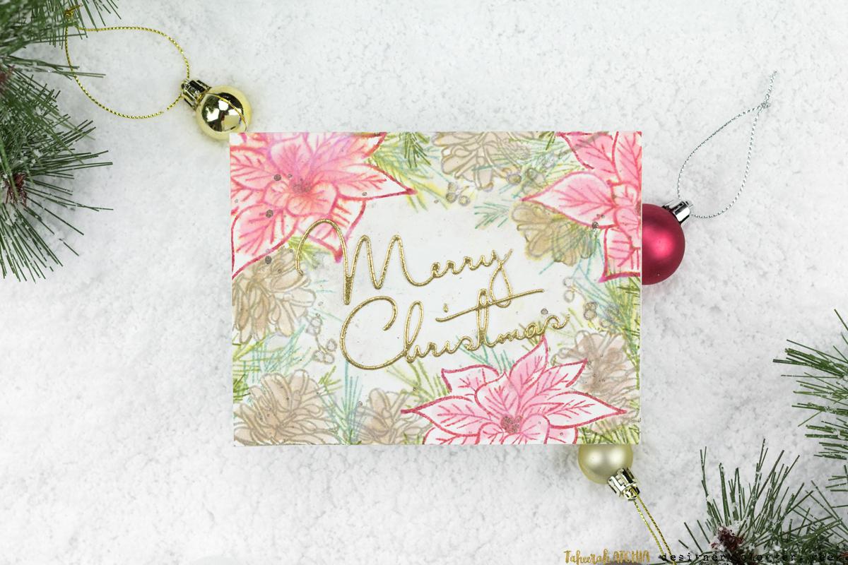 Poinsettia & Pine Christmas Card by Taheerah Atchia