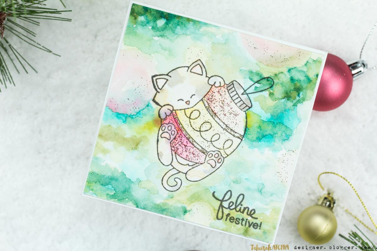 Feline Festive Kitty Ornament Christmas Card by Taheerah Atchia