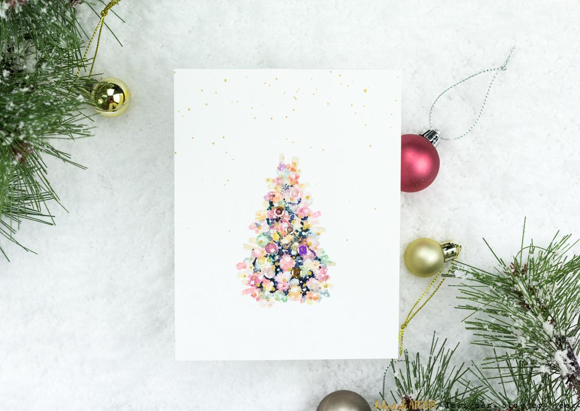 Glitzy Lit Christmas Tree Card by Taheerah Atchia