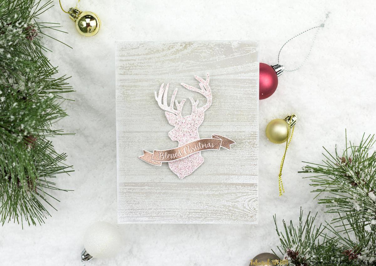 Glitzy Reindeer Christmas Card by Taheerah Atchia