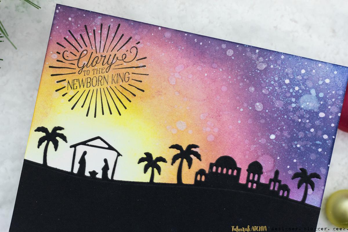 Glory To The Newborn King Nativity Christmas Card by Taheerah Atchia